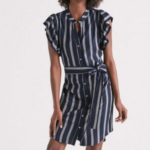 Lucky Brand Navy & Gray Striped Tie Waist Dress